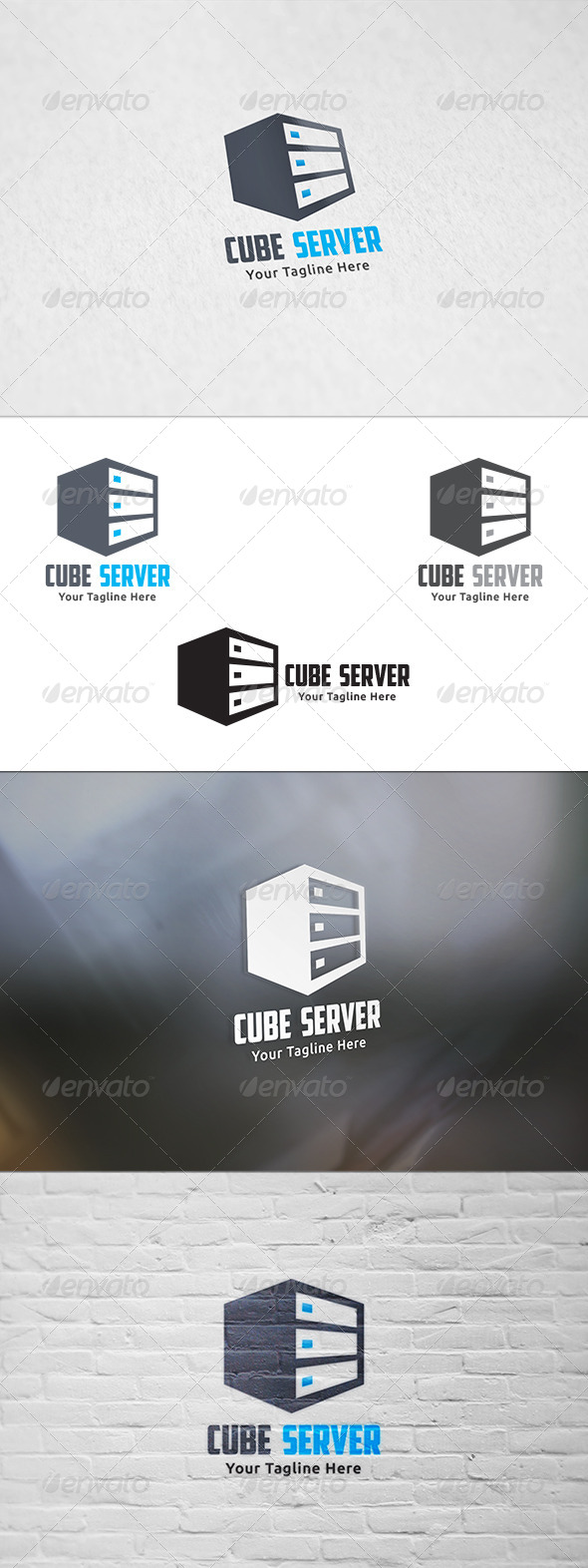 GraphicRiver Cube Server Logo Template 8603741