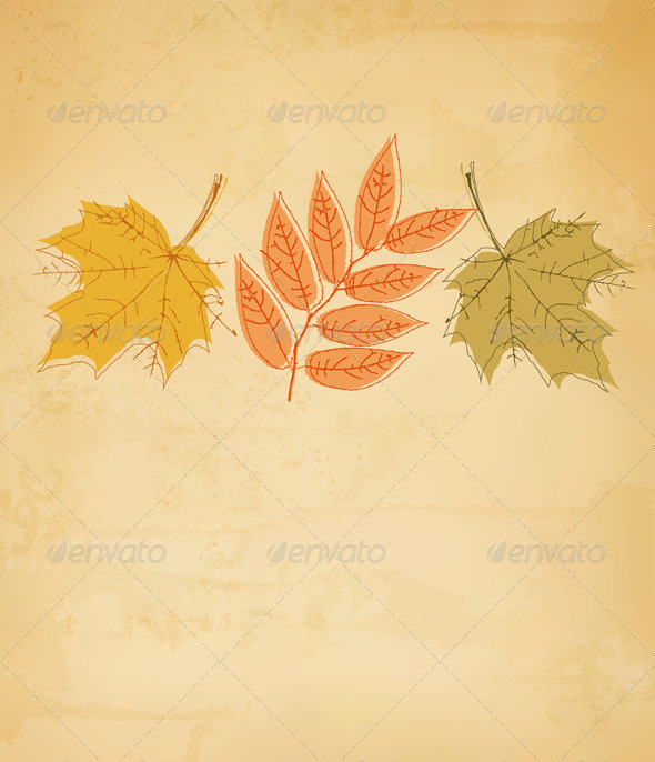 GraphicRiver Retro Autumn Background with Colorful Leaves 8597939