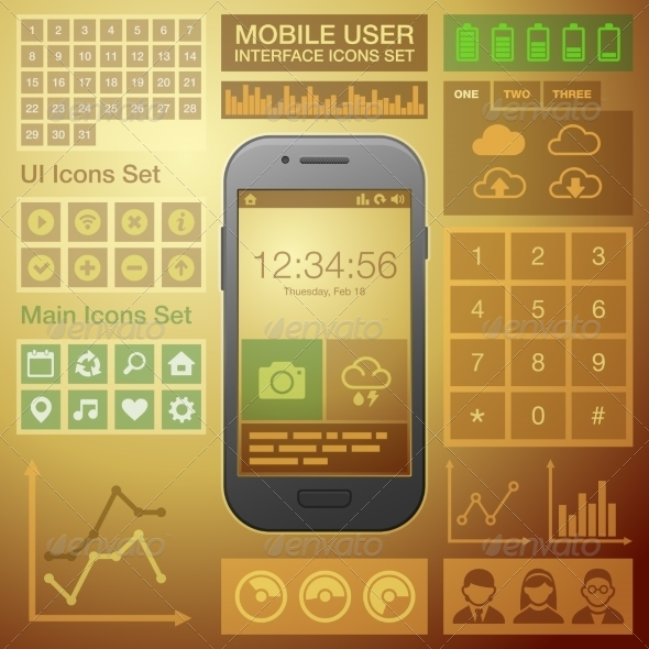 GraphicRiver Flat Mobile UI User Interface Design Elements Kit 8603897