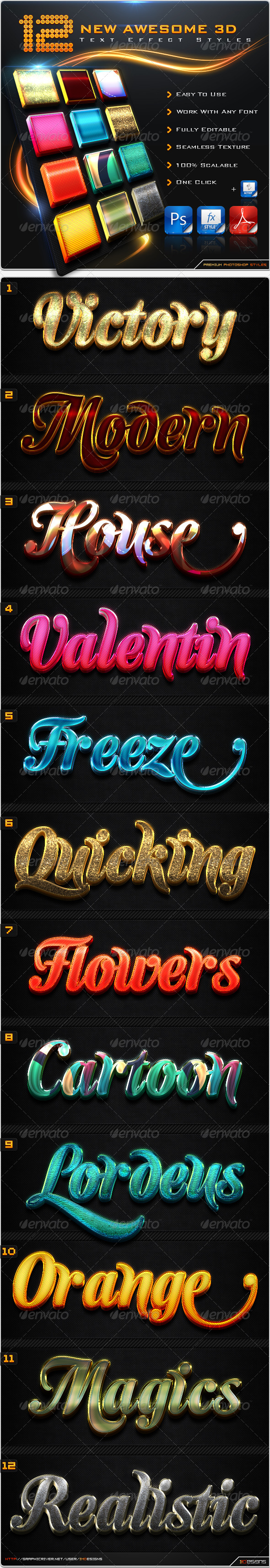 GraphicRiver 12 New Awesome 3D Text Effect Styles & Actions 8604061