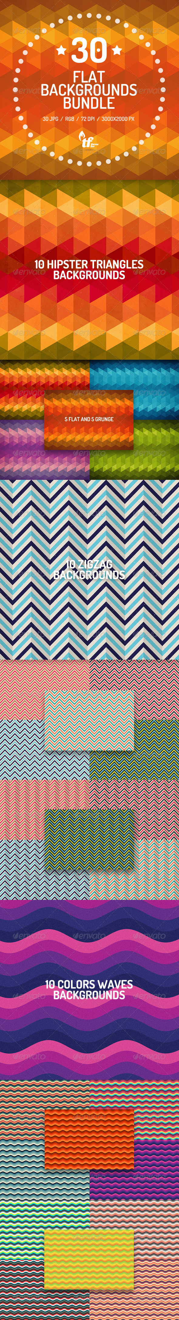 GraphicRiver 30 Flat Backgrounds Bundle 8604470