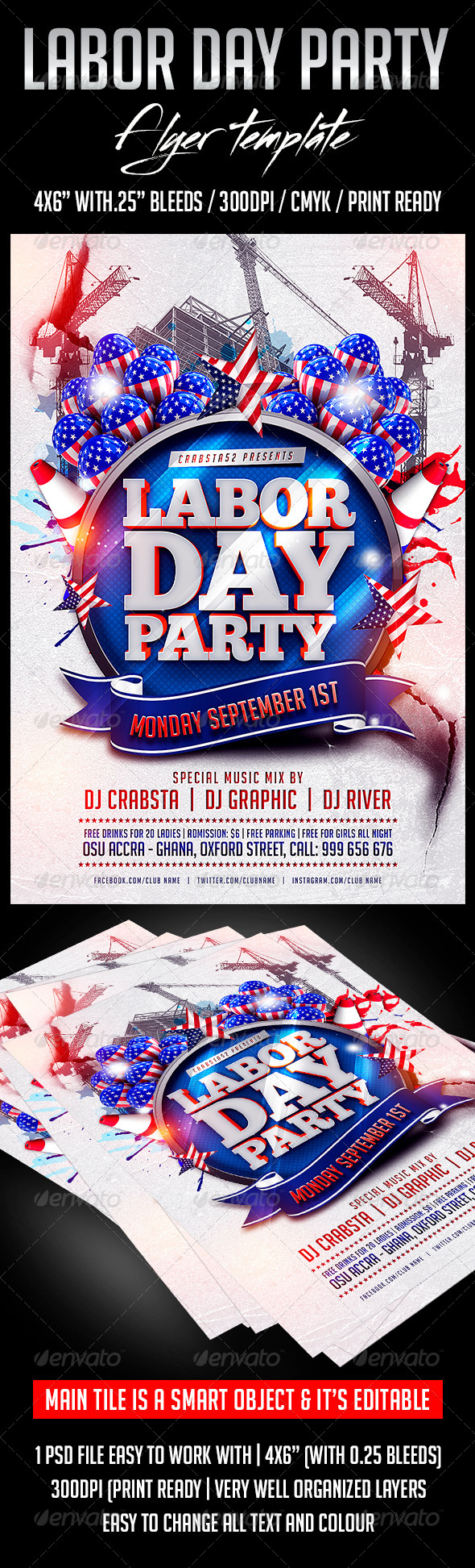 GraphicRiver Labour Day Party Flyer Template 8604495