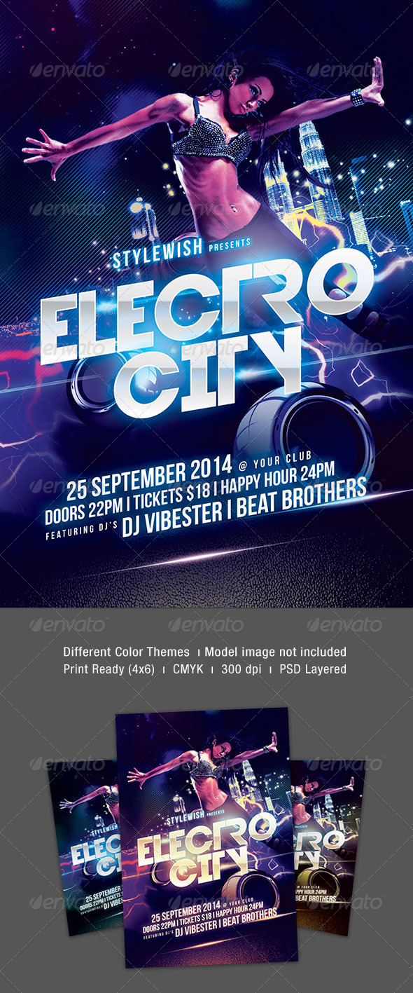 GraphicRiver Electro City Flyer 8604957