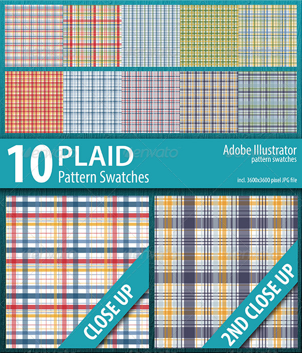 GraphicRiver 10 Plaid Pattern Swatches Vector 8606086