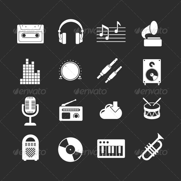 GraphicRiver Set Icons of Music and Sound 8606169