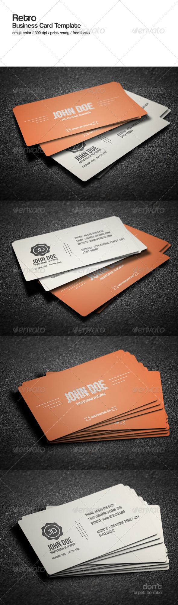 GraphicRiver Retro Business Card Template 8606370
