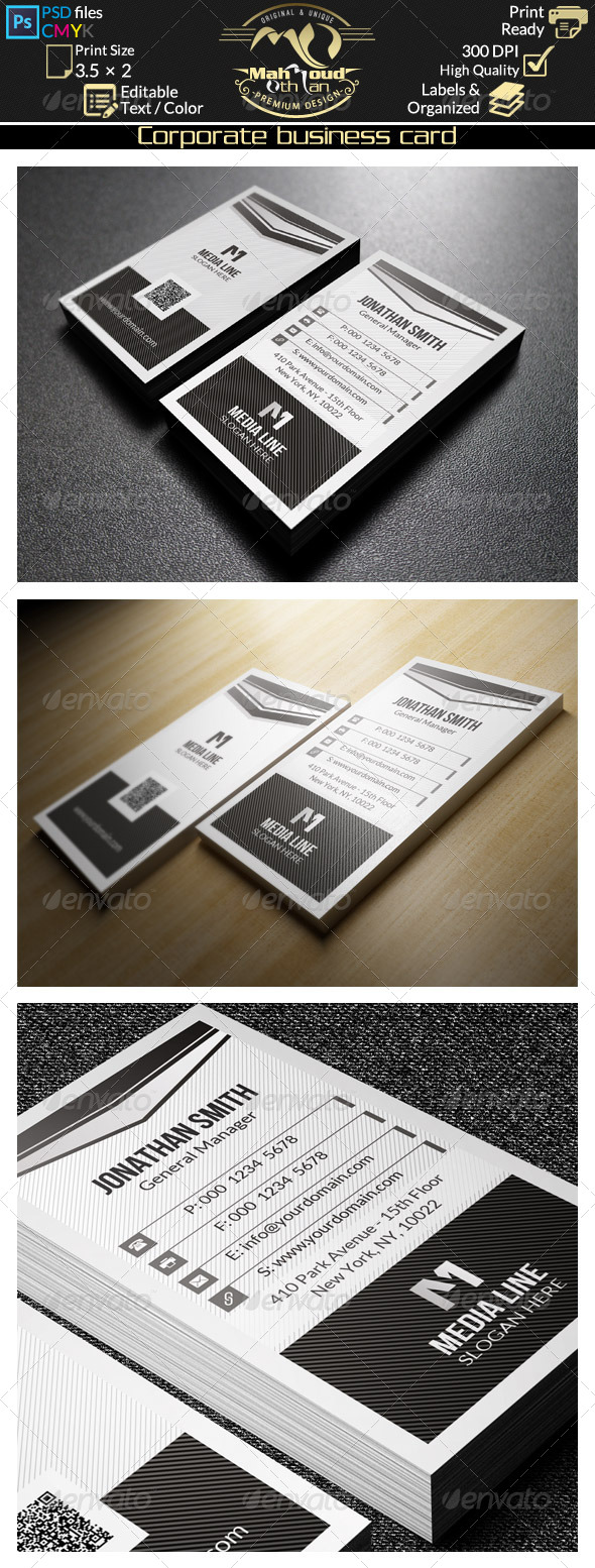 GraphicRiver Black And White Business Card 43 8606948