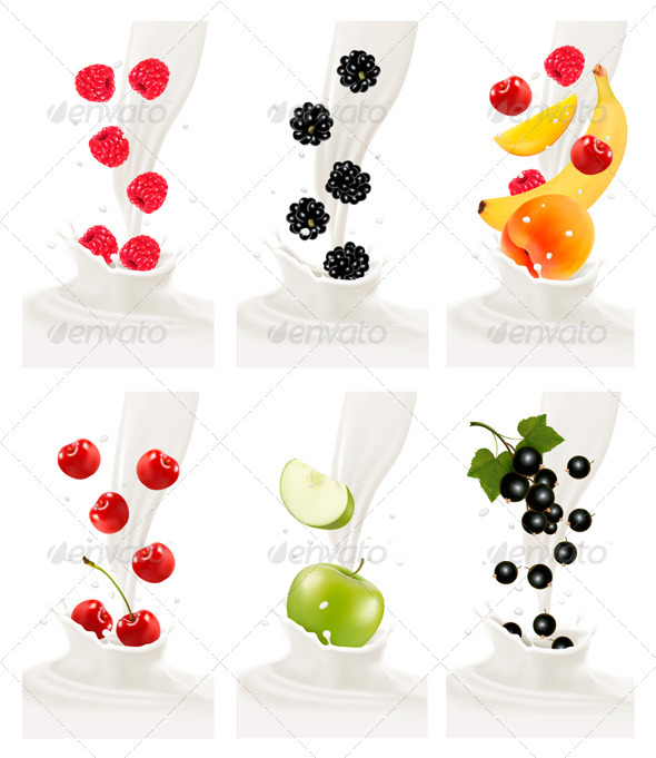 GraphicRiver Colorful Fresh Fruits Falling into a Milky Splash 8597959