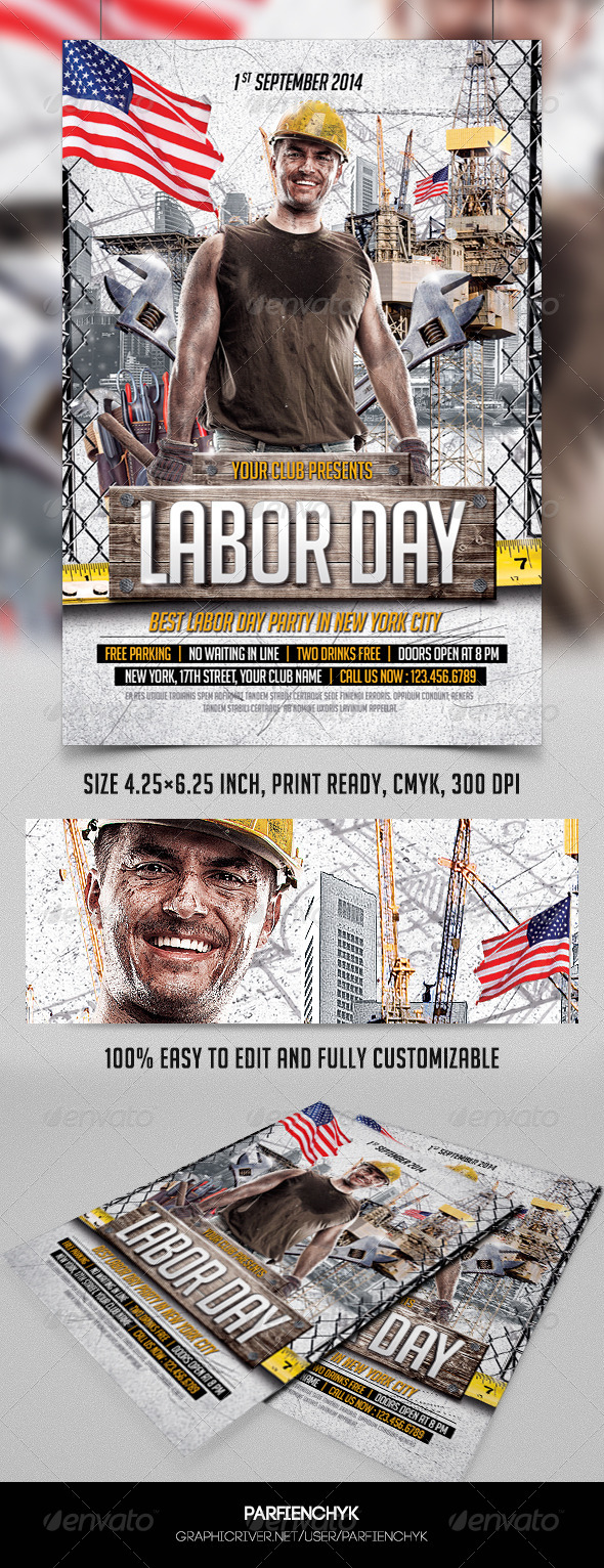 GraphicRiver Labor Day Party Flyer Template 8607266