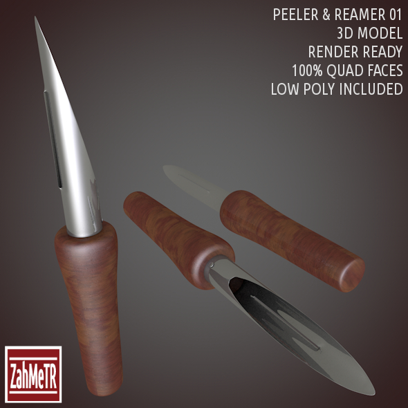 Peeler Reamer 3D Model Low - High Poly - 3DOcean Item for Sale