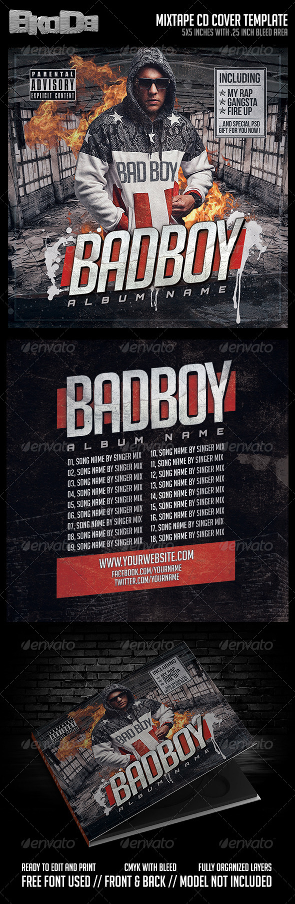 Mixtape Cover Template PSD Bad Boy