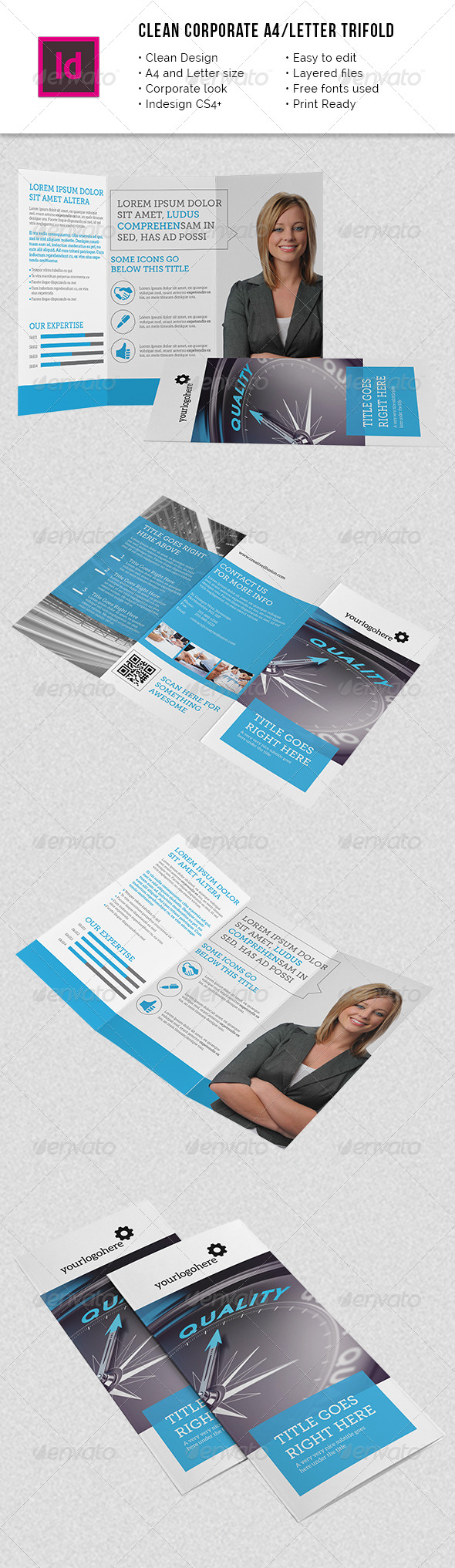 GraphicRiver Clean Corporate A4 Letter Trifold 8607563