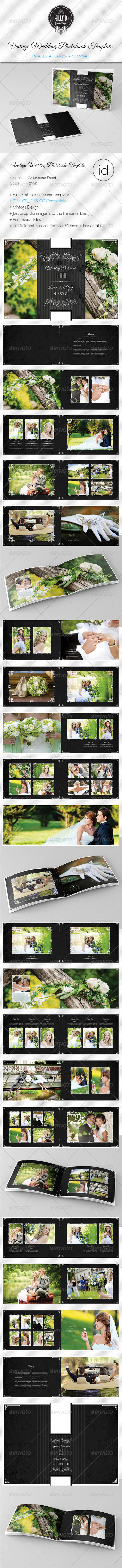 GraphicRiver 40 Pages Vintage Wedding Photobook Template 8608300