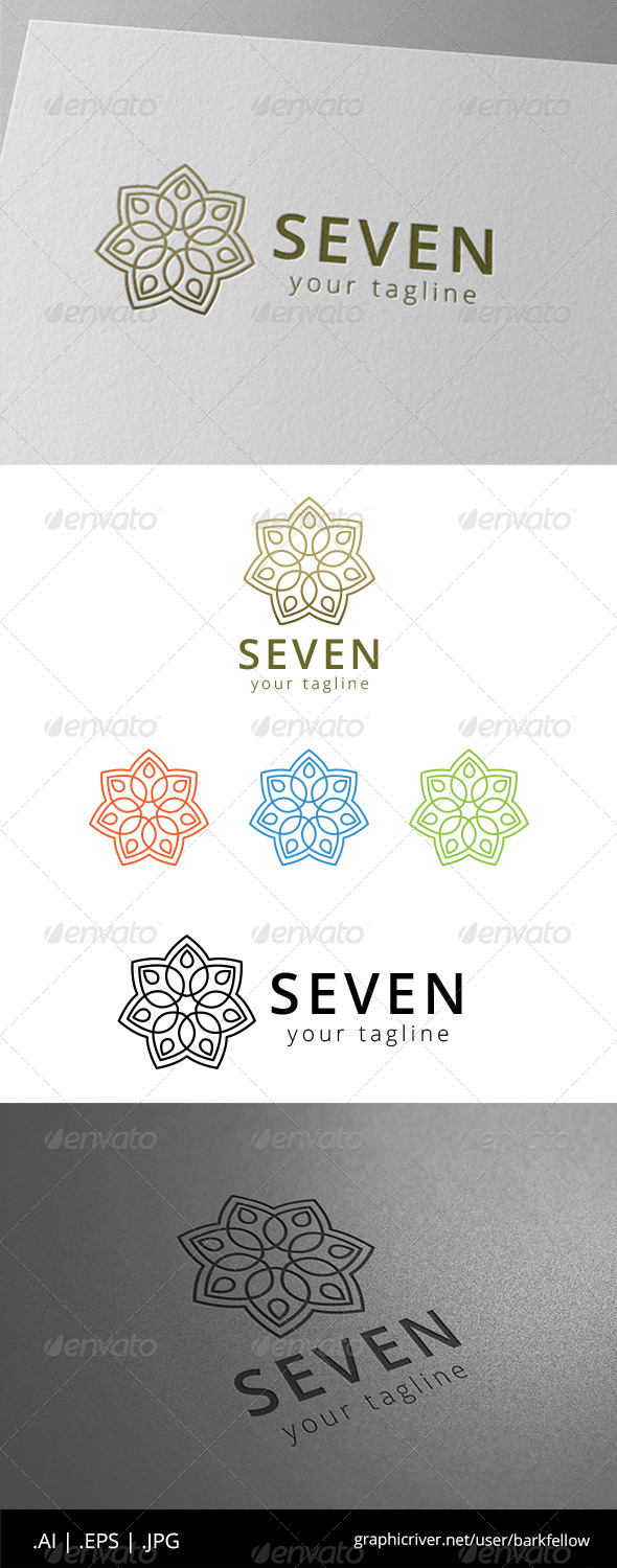 GraphicRiver Seven Flower Vintage Ornament Logo 8608604