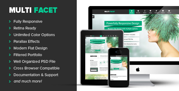 MultiFacet | Responsive One Page Template