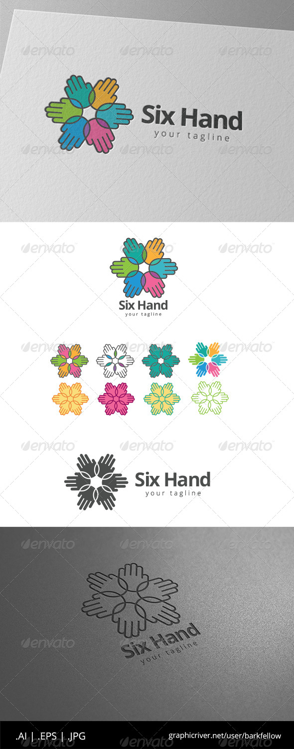 GraphicRiver Six Help Hand Group Logo 8608615