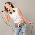 Singing teenage girl with microphone karaoke music - PhotoDune Item for Sale