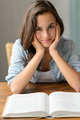 Teenage girl enjoy reading book at home - PhotoDune Item for Sale