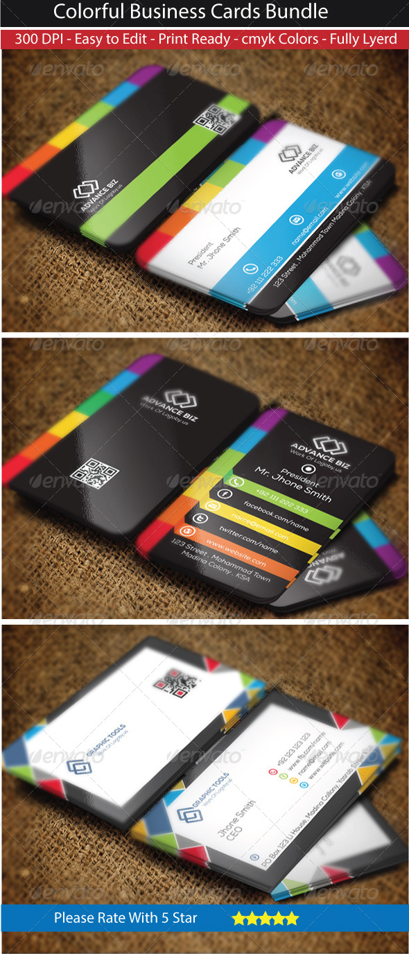 GraphicRiver Colorful Modern Business Card Bundle 8608665