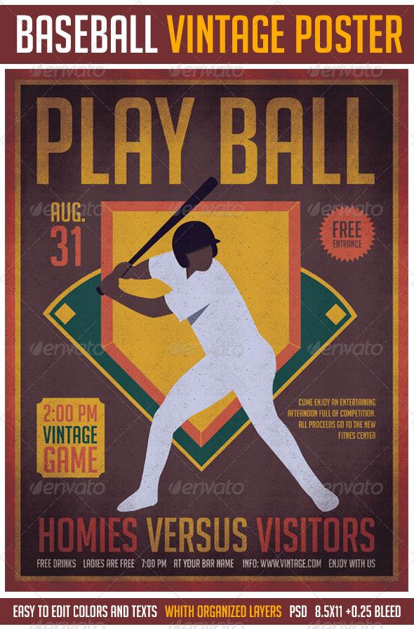 GraphicRiver Baseball Vintage Poster 8608824