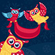 Holiday Vector Illustration With Owls - GraphicRiver Item for Sale