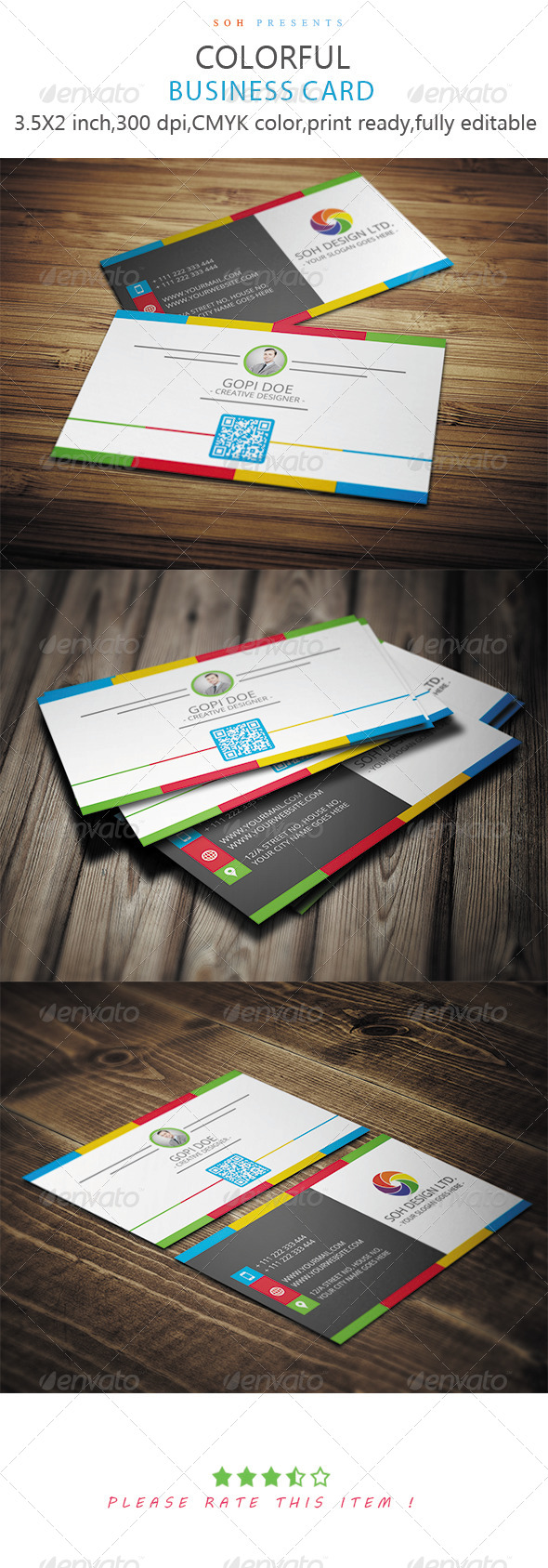 GraphicRiver Colorful Business Card Template 8609068
