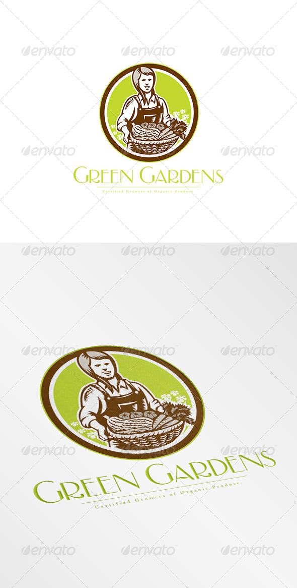 GraphicRiver Green Gardens Organic Produce Logo 8609125