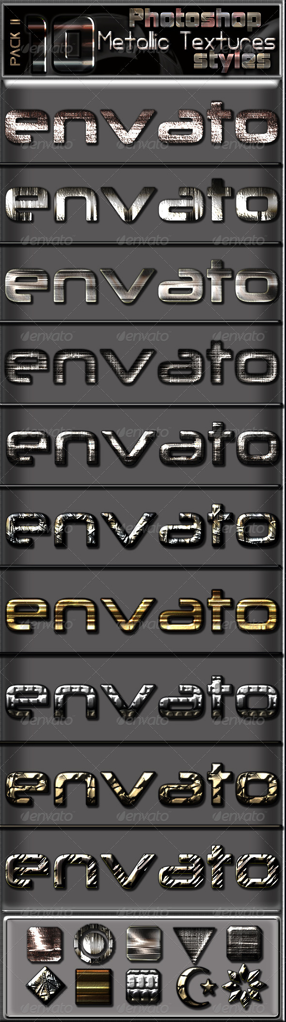 GraphicRiver 10 Metallic Textures Photoshop Text Effects- pack 8609166