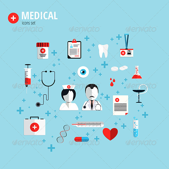 GraphicRiver Flat Design Icons for Health Care 8607895