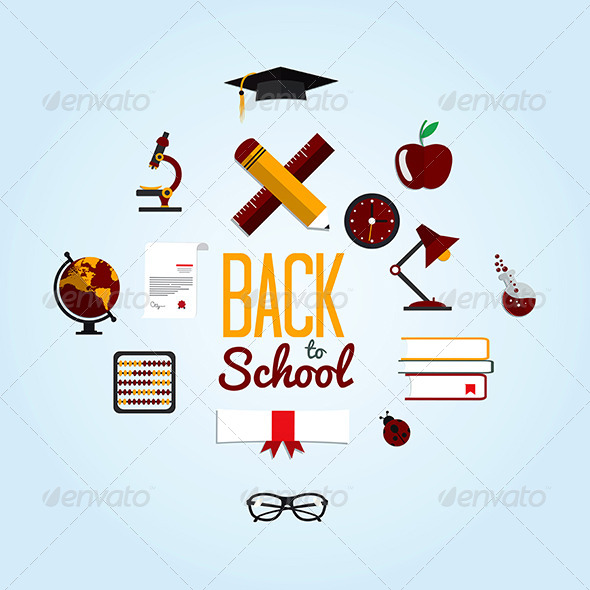 GraphicRiver Back To School Background With Flat Icon Set 8607909