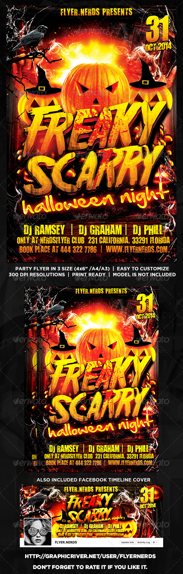 GraphicRiver Freaky Scarry Halloween Night Party Flyer 8609331