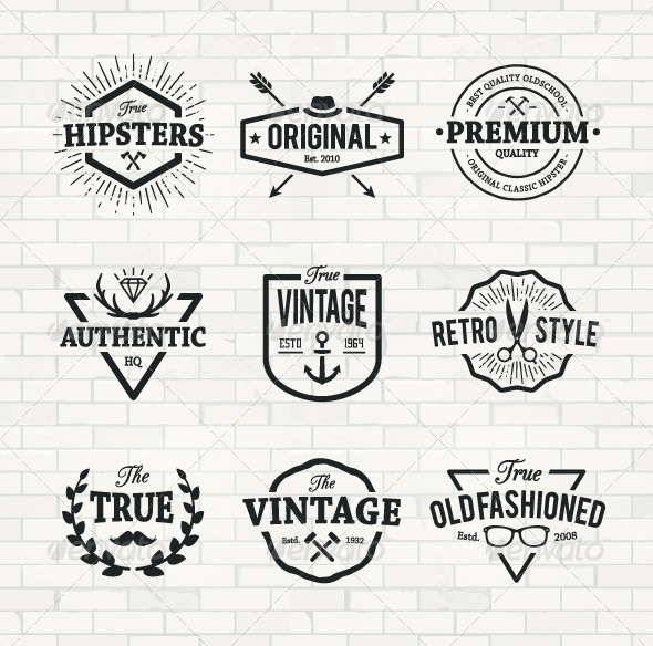 GraphicRiver Hipster Emblems Set 8609354