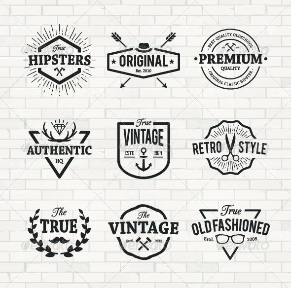 GraphicRiver Hipster Emblems Set 8609354