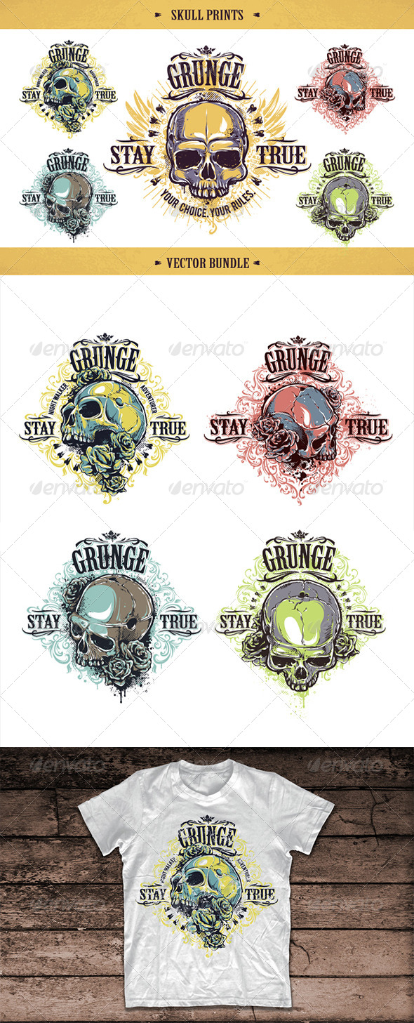 GraphicRiver Skull Prints Set 8609900