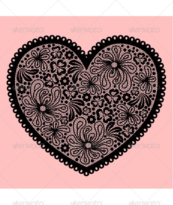 GraphicRiver Black Lacy Heart on Pink Background 8609936