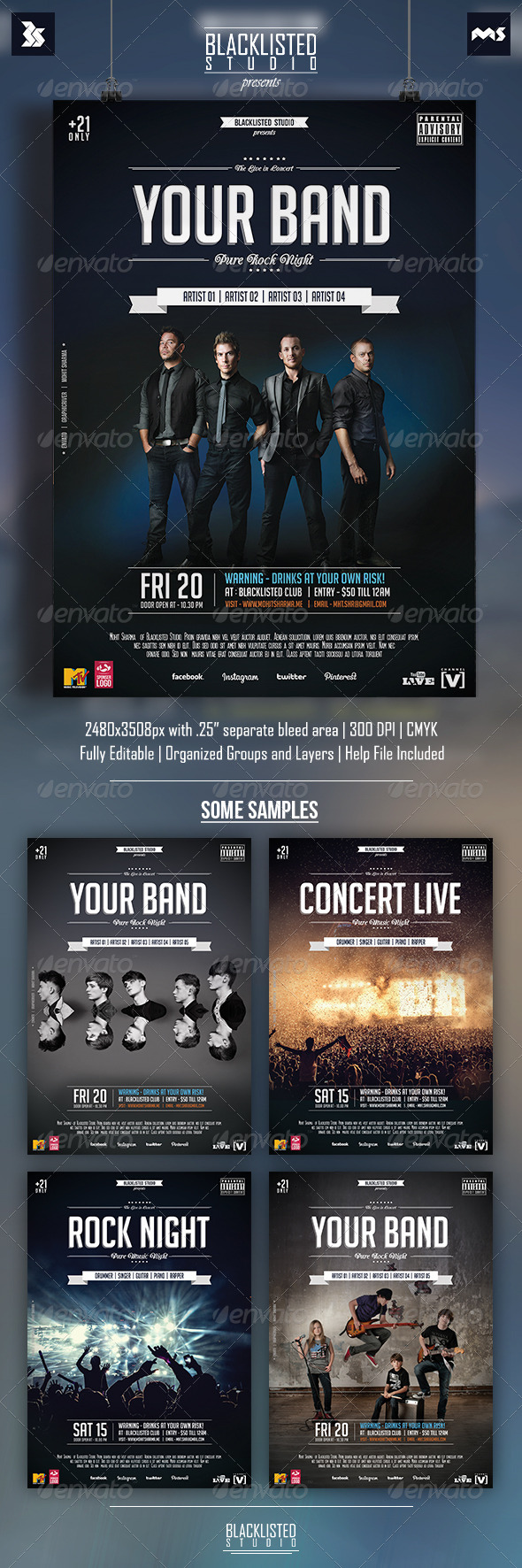GraphicRiver Alternative Rock Concert Party Flyer 8607526