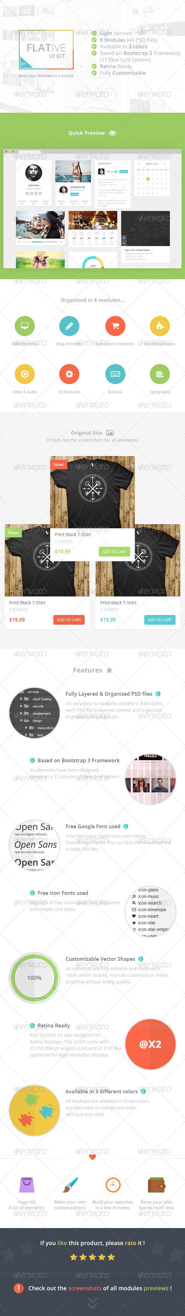 GraphicRiver Flative UI Kit Light 8611102