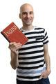 english education. Happy man with textbook - PhotoDune Item for Sale