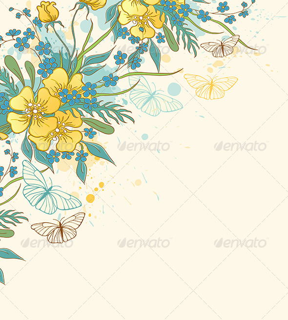 GraphicRiver Yellow Flowers and Butterflies 8611973