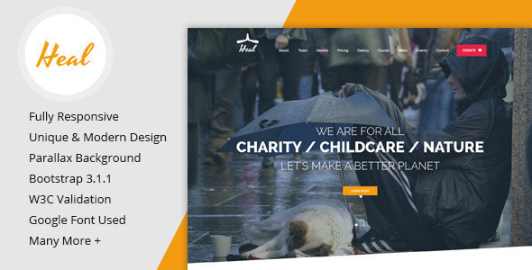 ThemeForest Heal One Page Charity HTML Template 8568747