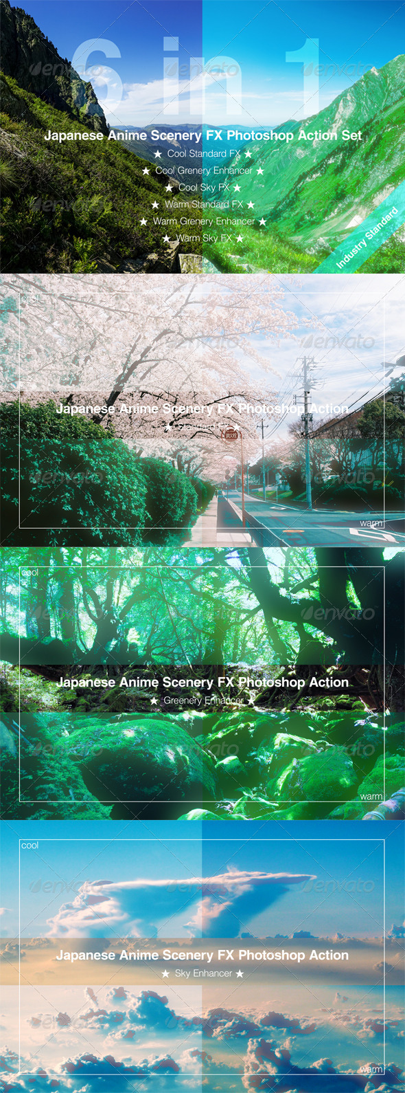 GraphicRiver Japanese Anime Scenery FX Photoshop Action Set 8569474