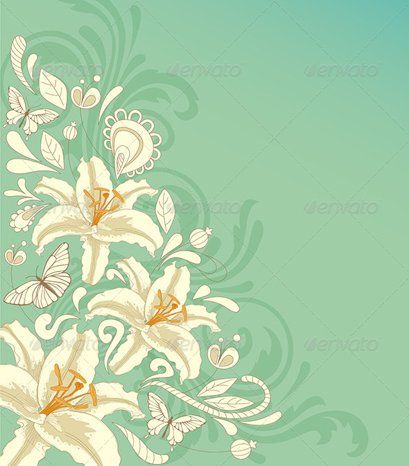 GraphicRiver Background with Flowers and Butterflies 8611996