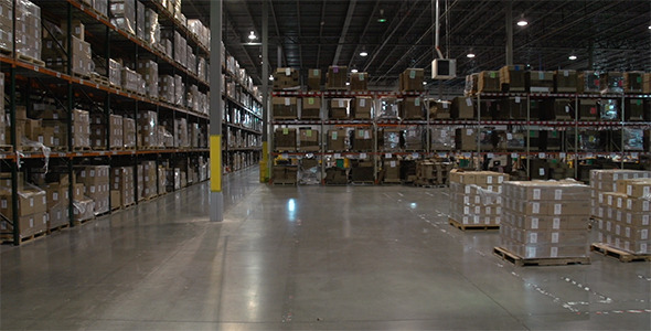 Forklift View in Warehouse