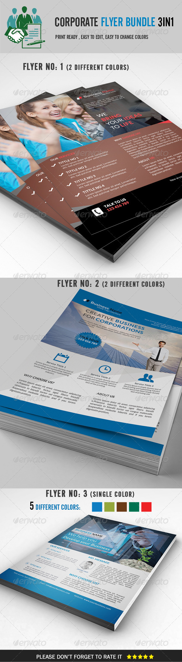 GraphicRiver Corporate Flyer Bundle 3 in 1 8612077