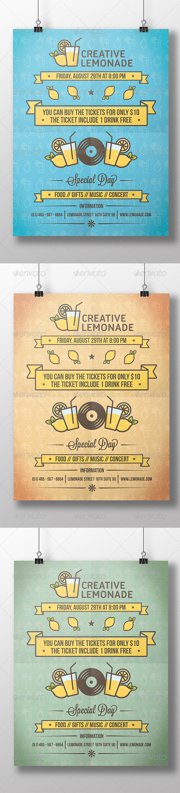 GraphicRiver Lemonade Cocktail Party Flyer 8612157
