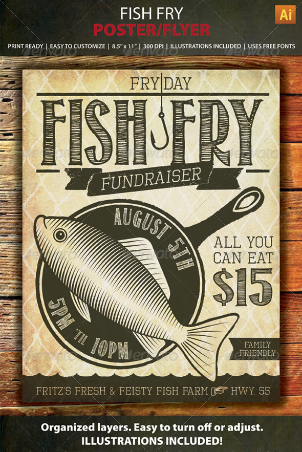 GraphicRiver Fish Fry Event or Fundraiser Poster Flyer 8612250