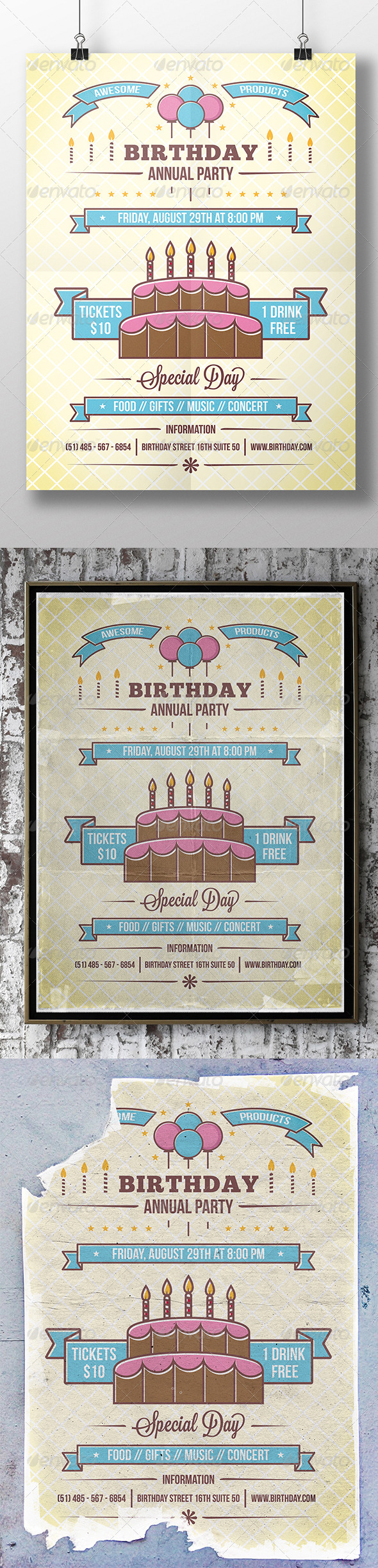 GraphicRiver Birthday Party Flyer 8612511