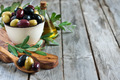 Mixed olives background