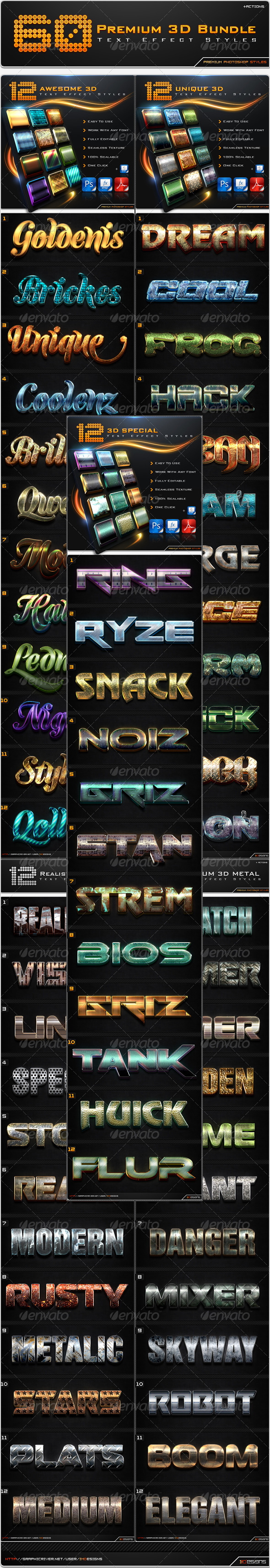 GraphicRiver 60 Premium 3D Text Effect Styles Bundle 8613130