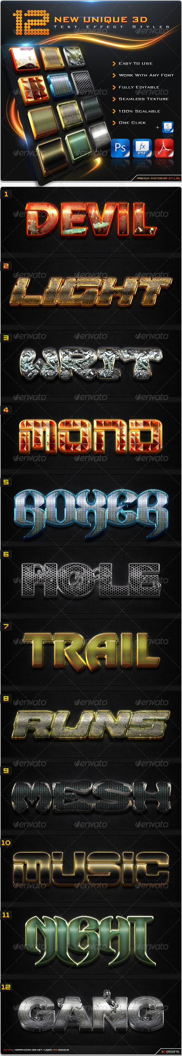 GraphicRiver 12 New Unique 3D Text Effect Styles & Actions 8613170